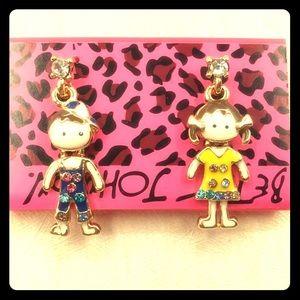 NWT•Betsey Girl/Boy asymmetrical post earrings